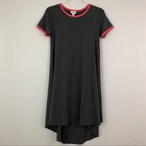 Lularoe Solid Gray Carly Dress T Shirt Dress Pink